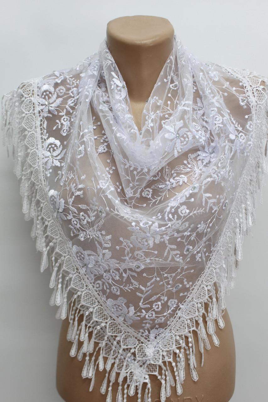 Хустка біла з камінням весільна церковна ажурна 230016