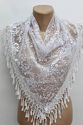 Платок белый с камнями свадебный церковный ажурный 230016