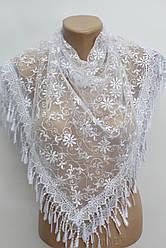 Платок белый с камнями свадебный церковный ажурный 230018