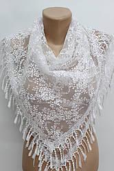 Платок белый с камнями свадебный церковный ажурный 230019