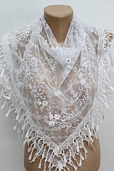 Платок белый с камнями свадебный церковный ажурный 230020