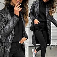 Пальто стёганное плащевка женское чёрное, серое, синее 42-44,46-48