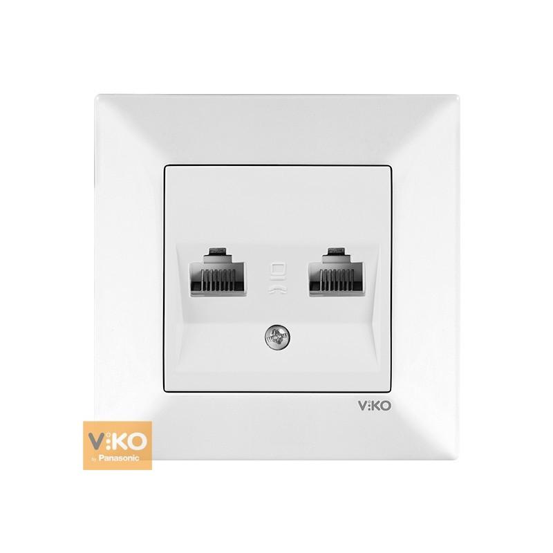 Розетка комп'ютерна подвійна VIKO Meridian - Білий
