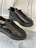 Черные кроссовки, кеды новые на невысокой платформе, фото 3