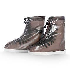 Гумові бахіли на взуття від дощу Lesko SB-101 коричневий р. 42/43 дощовик для взуття від бруду