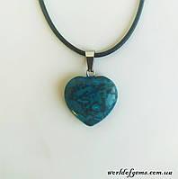 Подвеска сердце, натуральный камень агат