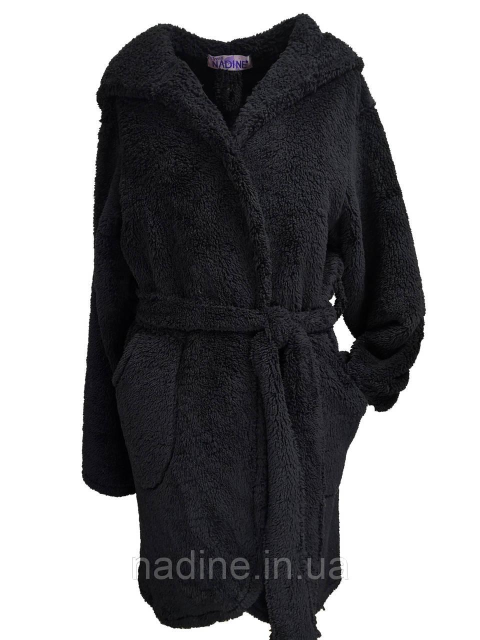 Халат на підлітка теплий Eirena Nadine (black 70-574) чорний на зріст 170
