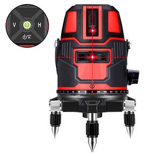 Лазерный уровень, нивелир, 5 линий 6 точек АКБ Hilda LS-050, красный лазер