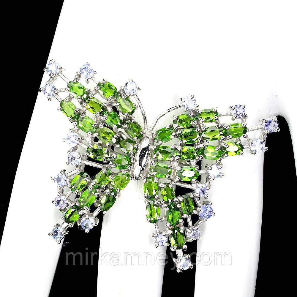 Кольцо в форме бабочки натуральный Танзанит и Хромдиопсид (Россия). Серебро 925 в позолоте 14 карат. Размер 18