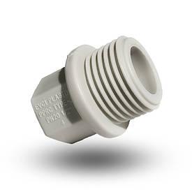 Заглушка поліпропіленова  пластикова з зовнішньою різьбою PP- R 1