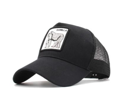 Черная кепка тракер с принтом Гориллы