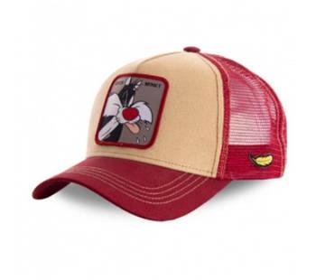 Червона кепка тракер з принтом Кіт Сильвестр