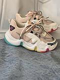 Яркие спортивные кроссовки женские с радужной подошвой, фото 6