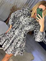 Праздничное лёгкое платье свободного кроя размер единый 44-48 ткань плотный софт