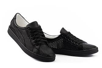 Женские кеды кожаные летние черные Yuves 10 Black Перфорация
