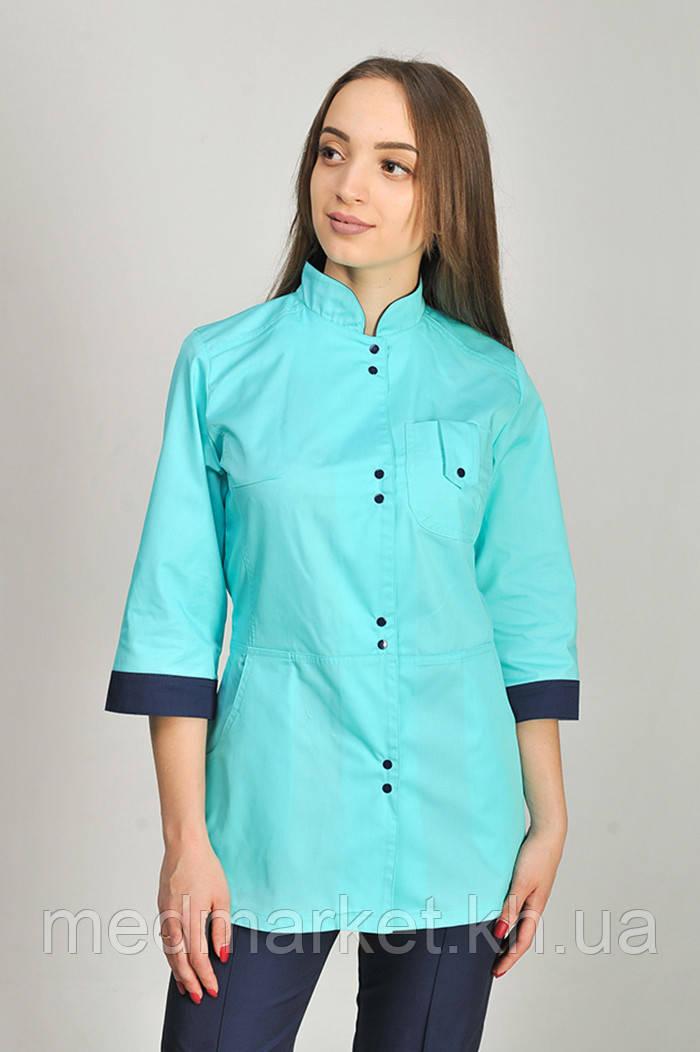 Куртка медицинская женская Рубина ELIT COTTON Ментол с темно-синим (отд)