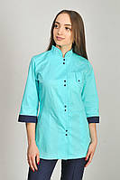 Куртка медицинская женская Рубина ELIT COTTON Ментол с темно-синим (отд), фото 1