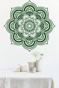 Наклейка на стіну Ажурна мандала (мандала, менді, візерунок, індія, наклейка в узголів'я ліжка, декор йога)