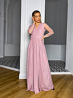 Жіноче Плаття максі з розрізом на ніжці (поясок в комплекті, бордо, чорний, рожевий), фото 1