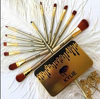 Набор кистей Kylie 12шт для макияжа Кайли кисточки в контейнере (SD-16)