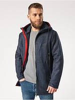 Мужское демисезонное пальто с капюшоном Riccardo Пальто T5 Синий (RI-10)