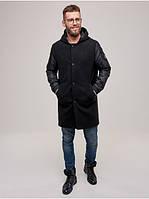 Мужское демисезонное пальто с капюшоном Riccardo Пальто DP-01 Черный (RI-10)