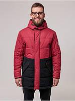 Мужская теплая зимняя куртка парка с капюшоном качественная Riccardo Куртка мужская зимняя ZD-02 Бордо (RI-10)