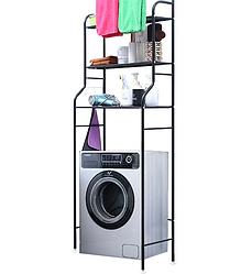 Полка-стеллаж напольный над стиральной машиной Чёрная | полка в ванную | этажерка для ванной