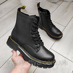 Ботинки женские черные кожаные