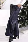Темно-сині штани з еко-шкіри широкі жіночі стильні батал 42-74. B084-2, фото 2