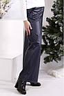 Темно-сині штани з еко-шкіри широкі жіночі стильні батал 42-74. B084-2, фото 3