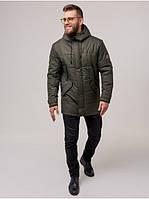 Мужская теплая зимняя куртка парка с капюшоном качественная Riccardo Мужская зимняя куртка Б6 Хаки (RI-10)