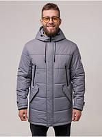 Мужская теплая зимняя куртка парка с капюшоном качественная Riccardo Мужская зимняя куртка Б6 Серый (RI-10)