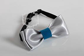 Срібна метелик-краватка