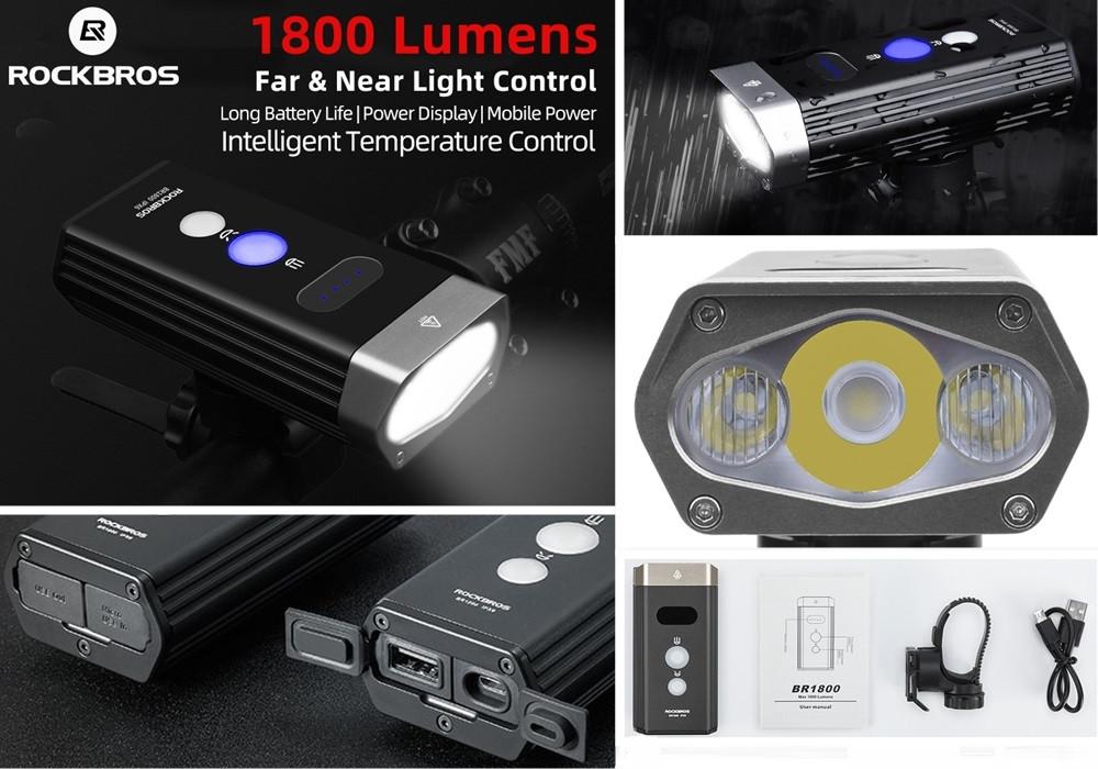 Супер мощный Велосипедный фонарь ROCKBROS BR1800+Power Bank (1800LM, 5200mAh, USB, IPX6, Дальний/Ближний свет)
