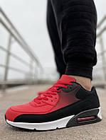Кроссовки мужские красные с черным Air Max весна белая подошва