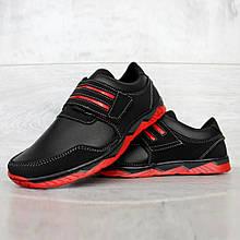 Мужские черные кроссовки демисезонные на красной подошве (КФ-36чр)