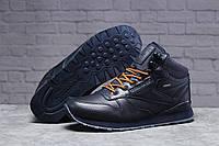 Зимние мужские кроссовки 31481, Reebok Classic (мех), темно-синие, [ 42 45 ] р. 45-29,0см. (T7-D)