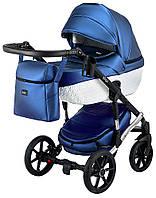 Детская коляска 2 в 1 Bair Star White (Silver) кожа 100% 38S темно-синий (перламутр), фото 1