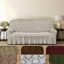 Натяжные универсальные готовые чехлы накидки на трехместные диваны Еврочехлы на 3-х местные диваны Серый