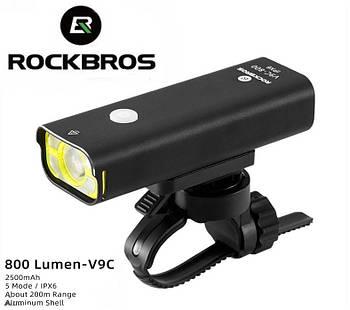 Велосипедный фонарь ROCKBROS V9C-800 (800LM, 2500mAh аккумулятор, Cree XPG, USB, IPX6, 5 режимов)