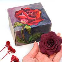 """Оригинаьлный подарок девушке на 14 февраля, 8 марта . Заколка """"Роза марсала"""" + коробочка ручной работы"""
