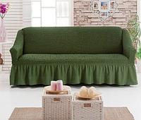 Универсальный чехол на диван Зеленый Готовые натяжные чехлы накидки на диваны Еврочехлы на диваны