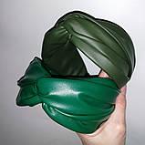 Обідок модний з вузликом обруч Чалма еко-шкіра різні кольори, фото 10