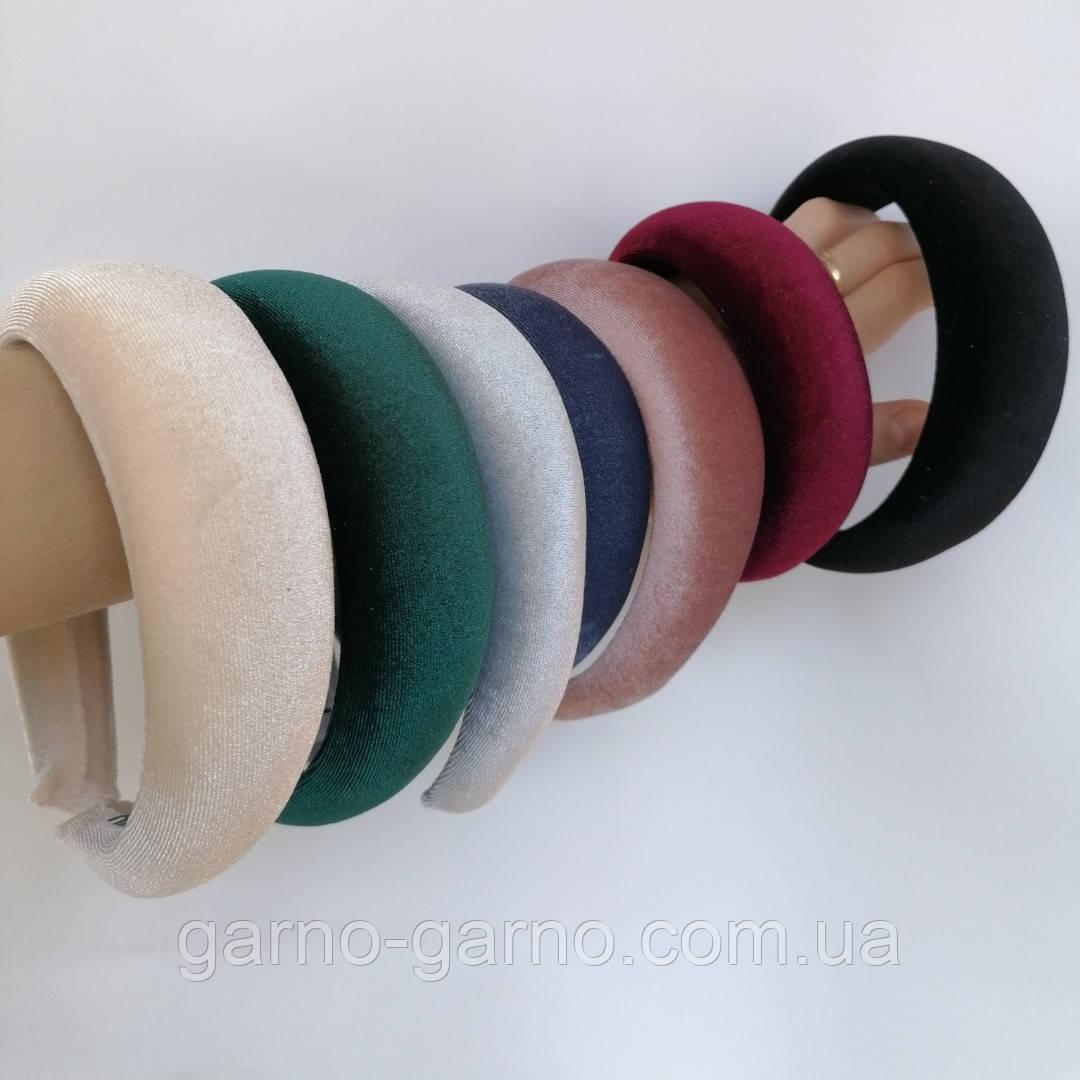 Ободок объемный высокий модный широкий бархат обруч  высокий разные цвета трендовый ободочек модный