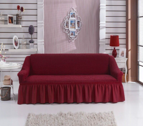 Еврочехол накидки на меблі, чохол для дивана на резинці натяжна турецькі готові з оборкою жатка Бордовий
