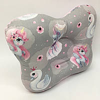 Подушка ортопедическая типа бабочка для новорожденных Sindbaby из ткани Единорожки 01-ПО-24, КОД: 1315307