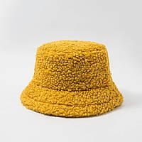 Женская меховая зимняя шапка панама теплая плюшевая пушистая (Тедди, барашек, каракуль) Желтая 2, фото 1