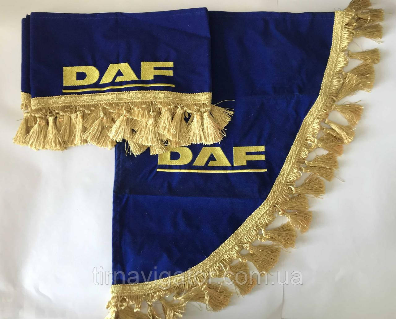 Шторка на лобовое стекло с уголками DAF синяя