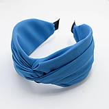 Обідок модний з вузликом обруч Чалма текстиль колір персиковий колір однотонний широкий, фото 7